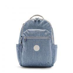 Sac à Dos Clas Seoul Blue Jeans en Toile - Kipling
