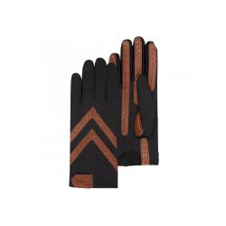 Gants Femme Tissu Extensible Noir/Cognac - Isotoner